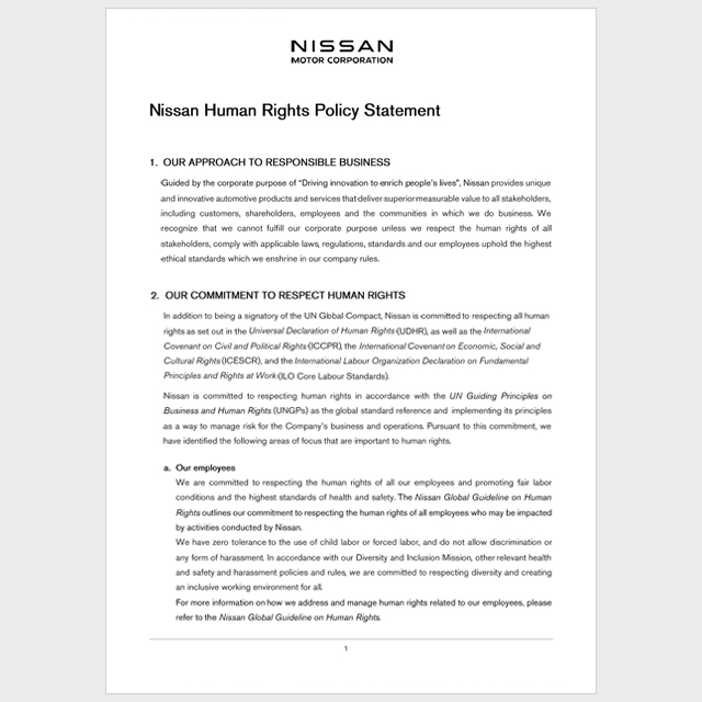 Nissan Human Rights Policy | Library | StatementSustainability at